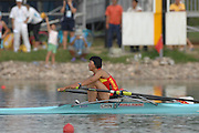 Beijing, CHINA. A Finals, CHN JW1X, Weiwei ZHU. , at  the  2007. FISA Junior World Rowing Championships,  Shunyi Water Sports Complex. 11/08/2007 [Photo, Peter Spurrier/Intersport-images]..... , Rowing Course, Shun Yi Water Complex, Beijing, CHINA,
