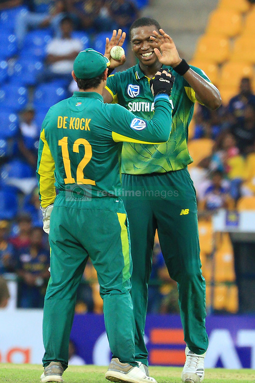 August 5, 2018 - Kandy, Sri Lanka - South African cricketers Lungi Ngidi and Quinton de Kock celebrate during the 3rd One Day International cricket match between Sri Lanka and South Africa at Pallekele International Cricket Stadium, Pallekele, Kandy , Sri Lanka on Sunday 5 th August 2018  (Credit Image: © Tharaka Basnayaka/NurPhoto via ZUMA Press)
