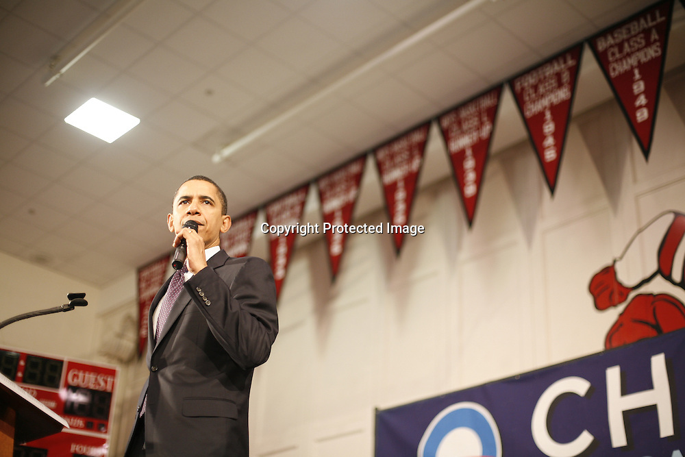 U.S. Democratic Presidential candidate Senator Barack Obama (D-IL) speaks during a campaign stop in Claremont, New Hampshire January 7, 2008.