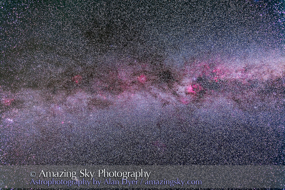 The northern Milky Way from Cygnus at right to Cassiopeia and northern Perseus at left, with boosted contrast to bring out faint nebulosity. Taken from Cypress Hills at the Saskatchewan Summer Star Party, August 18, 2012. Taken with the Canon L-series 24mm lens at f/2.8 and Canon 5D MkII (modified) for a stack of 5 x 5 minute exposures at ISO 800.