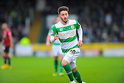 Yeovil Town's Josh Sheehan during the Sky Bet League 2 match between Yeovil Town and Oxford United at Huish Park, Yeovil, England on 28 December 2015. Photo by Graham Hunt.