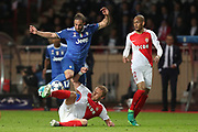 GONZALO HIGUAIN of Juventus duels for the ball with KAMIL GLIK of Monaco during the UEFA Champions League semi final football match, 1st leg, between AS Monaco and Juventus FC on May 3rd, 2017 at Louis II Stadium in Monaco - Photo Manuel Blondeau / AOP Press /