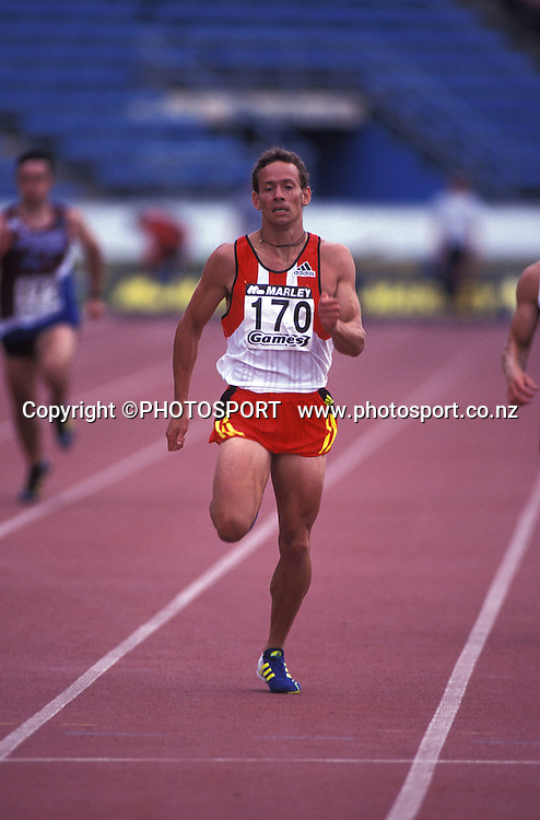 Mark Keddell in action sprinting during the Marley Games athletics track and field meet, 1999. Photo: PHOTOSPORT