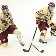 Patrick Brown #23 of the Boston College Eagles and Ryan Fitzgerald #19 of the Boston College Eagles on the ice during The Beanpot Championship Game at TD Garden on February 10, 2014 in Boston, Massachusetts. (Photo by Elan Kawesch)
