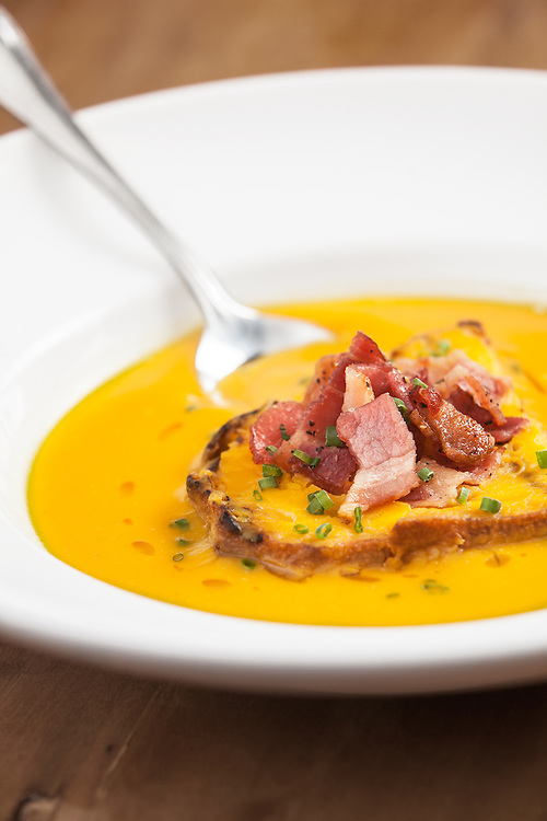 Butternut squash soup with smoky bacon and maple.