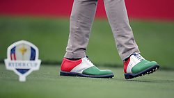 General view of a golfers shoes during a celebrity golf match ahead of the 41st Ryder Cup at Hazeltine National Golf Club in Chaska, Minnesota, USA.