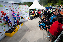 Ulissi Diego (ITA) of Lampre celebrates at Golte after the 3rd Stage Trzic - Golte (170,6 km) at 18th Tour de Slovenie 2011, on June 17, 2011, in Slovenia. (Photo by Vid Ponikvar / Sportida)