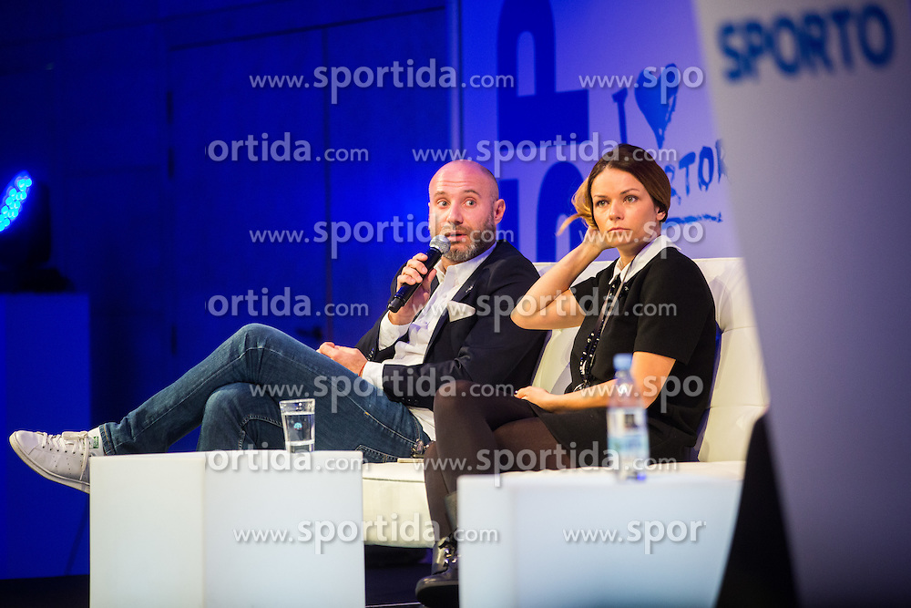 Aleksandra Radujko (PR Team Novak Đokovic) and Ranko Vucinic (KHL Medvescak communications) during Sports marketing and sponsorship conference Sporto 2015, on November 19, 2015 in Hotel Slovenija, Congress centre, Portoroz / Portorose, Slovenia. Photo by Vid Ponikvar / Sportida