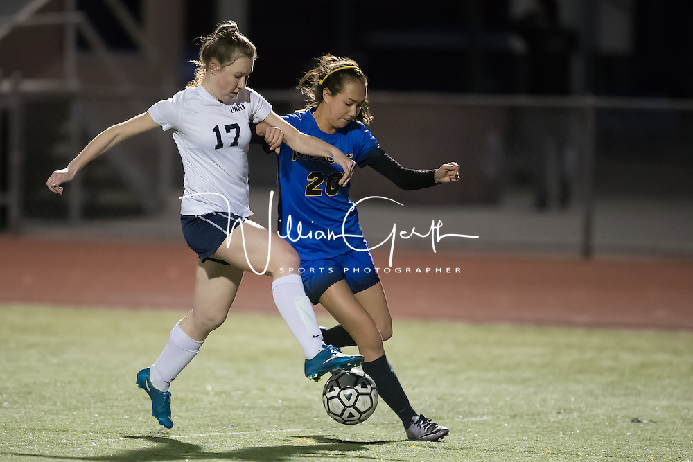 (Photograph by Bill Gerth for SVCN) Lincoln #17 Sophie Karge and Prospect #20 Amy Lynn battle for the ball in a BVAL Girls Soccer Game at Lincoln High School, San Jose CA on 1/27/17.  (Lincoln 2 Prospect 1 )