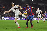 Football - 2017 / 2018 Premier League - Crystal Palace vs. Burnley<br /> <br /> Ashley Barnes of Burnley and Timothy Fosu - Mensah of Palace, at Selhurst Park.<br /> <br /> COLORSPORT/ANDREW COWIE