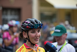 Lisa Brennauer (GER) of CANYON//SRAM Racing gives an interview after Stage 6 of the Lotto Thuringen Ladies Tour - a 80.5 km road race, starting and finishing in Gotha on July 18, 2017, in Thuringen, Germany. (Photo by Balint Hamvas/Velofocus.com)