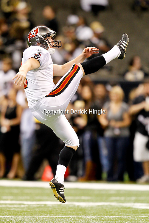 November 6, 2011; New Orleans, LA, USA; Tampa Bay Buccaneers punter Michael Koenen (9) warms up prior to kickoff of a game a game at the Mercedes-Benz Superdome. Mandatory Credit: Derick E. Hingle-US PRESSWIRE