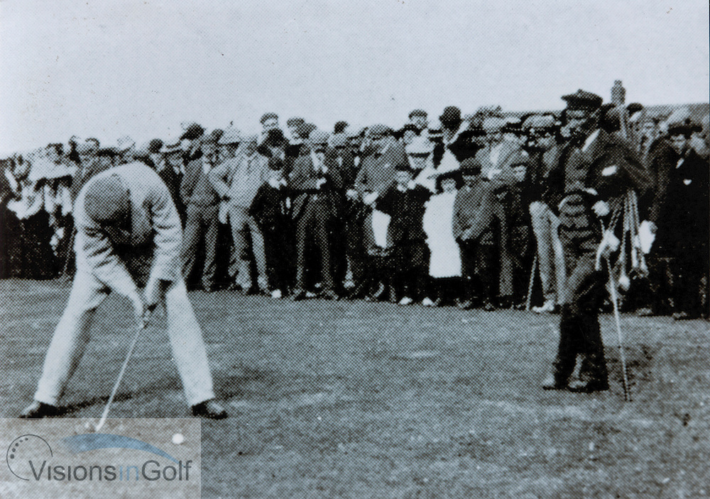 Willie Park Jnr with caddy Old Fiery, about to miss a putt to tie for the 1898 Open Championship.  <br /> Picture Credit: &copy;Visions In Golf / Michael Hobbs