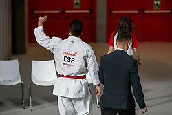 November 10, 2018 - Madrid, Madrid, Spain - Damian Quintero of Spain lose the match and get the silver medal and the second place of the tournament of male Kata tournament during the Finals of Karate World Championship celebrates in Wizink Center, Madrid, Spain, on November 10th, 2018. (Credit Image: © AFP7 via ZUMA Wire)