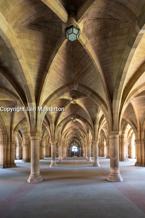 View of old cloisters of Glasgow University in Glasgow, Scotland UK