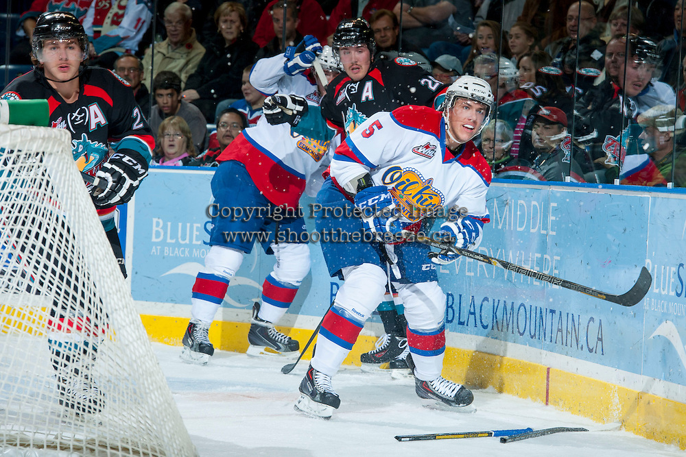 KELOWNA, CANADA - NOVEMBER 9:  Ashton Sautner #5 of the Edmonton Oil Kings passes the puck at the Kelowna Rockets on November 9, 2013 at Prospera Place in Kelowna, British Columbia, Canada.   (Photo by Marissa Baecker/Shoot the Breeze)  ***  Local Caption  ***