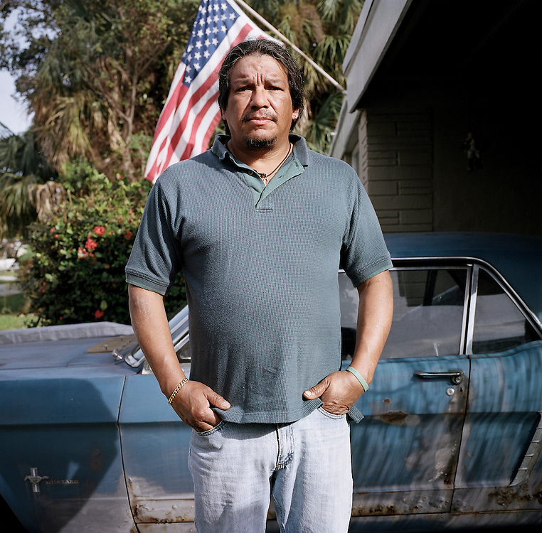 Mike Iraheta. Diesel mechanic, he was originally from Detroit. He lost his home to foreclosure after a workplace injury, now he rents from a Canadian landlord. Pompano Beach, Florida.