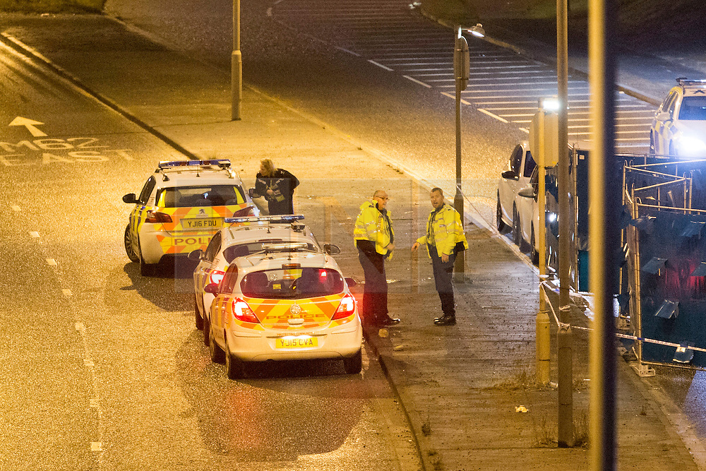 © Licensed to London News Pictures. 03/01/2017. Huddersfield UK. A man has died during a pre-planned operation on a M62 slip road near Huddersfield. Police said a police firearm was discharged at about 18:00 on Monday near the M62 motorway.  Photo credit: Andrew McCaren/LNP