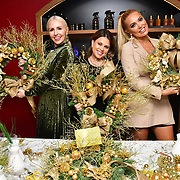 Naomi Isted, Nadia Essex and Aishleyne Horgan Wallace attends Jovoy, Luxury Perfumery in Mayfair to launch world renowned floral artist Fabienne Egger Luxury Wreath making workshops across the UK at Jovoy Mayfair on 7 November 2019, London, UK.