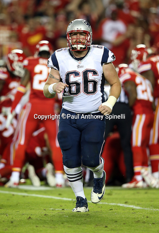 New England Patriots center Bryan Stork (66) jogs off the field during the NFL week 4 regular season football game against the Kansas City Chiefs on Monday, September 29, 2014 in Kansas City, Mo. The Chiefs won the game 41-14. ©Paul Anthony Spinelli