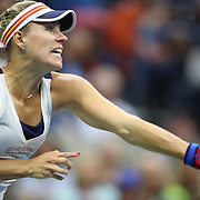 2017 U.S. Open Tennis Tournament - DAY TWO.  Angelique Kerber of German in action against Naomi Osaka of Japan during the Women's Singles round one at the US Open Tennis Tournament at the USTA Billie Jean King National Tennis Center on August 29, 2017 in Flushing, Queens, New York City.  (Photo by Tim Clayton/Corbis via Getty Images)
