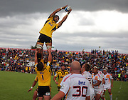 Hurricanes' Victor Vito takes a lineout ball. Super 15 rugby pre-season match - Hurricanes v Chiefs at Mangatainoka RFC, Mangatainoka, Wairarapa, New Zealand on Saturday, 29 January 2011. Photo: Dave Lintott / photosport.co.nz