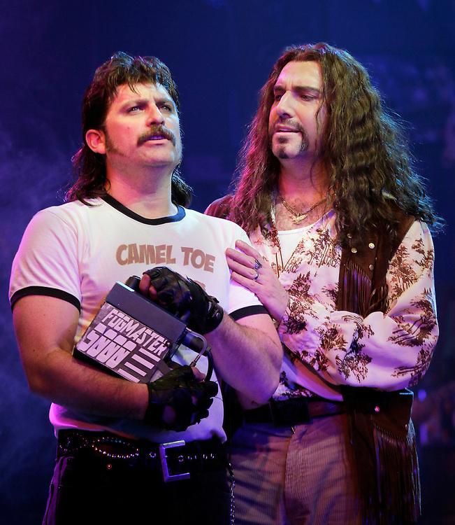 Genson Blimline as ?Lonny? and Adam Dannheisser as ?Dennis? in.ROCK of AGES .Credit photo: © Paul Kolnik.paul@paulkolnik.com.nyc  212-362-7778