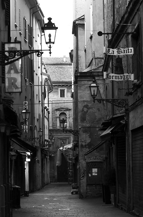"Black and white photography of an emty street in Bologna Italy by Karl R Lilliendahl photographer.This photo is available as open edition and limited edition giclee print in four sizes. Click on ""Get Print"" to see more details."