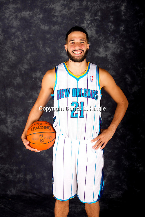 October 1, 2012; Westwego, LA, USA; New Orleans Hornets point guard Greivis Vasquez (21) poses for a portrait during Media Day at the Alario Center. Mandatory Credit: Derick E. Hingle-US PRESSWIRE