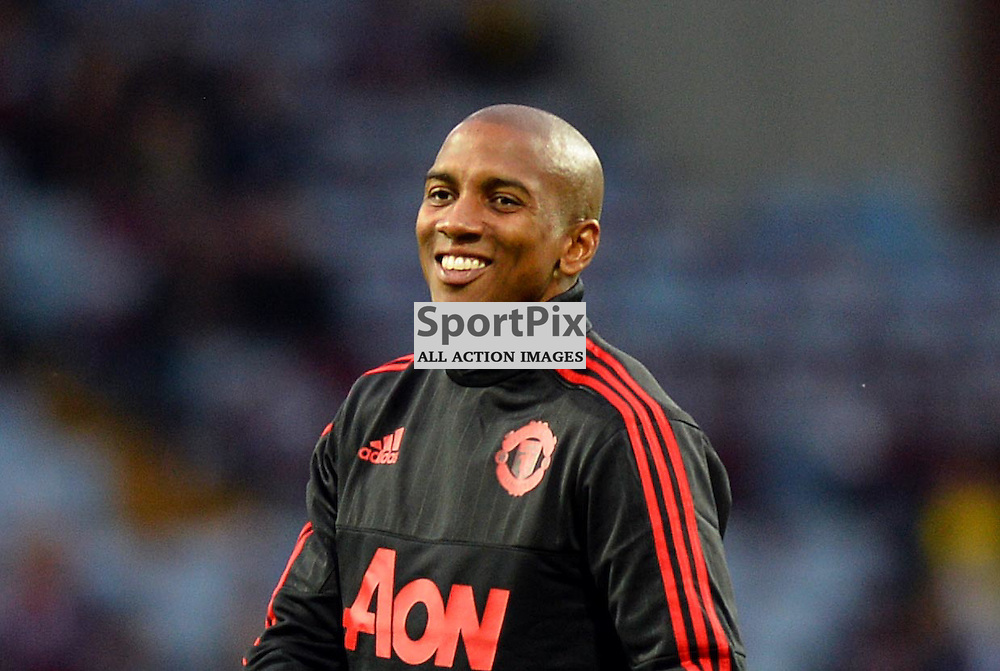 Ashley Young of Manchester United warms up and gets a warm welcome from the Aston Villa boo boys
