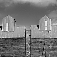 Large wooden farm buildings in Rolette County USA