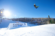 Halldor Helgason during Snowboard Slopestyle Practice at 2014 X Games Aspen at Buttermilk Mountain in Aspen, CO. ©Brett Wilhelm/ESPN