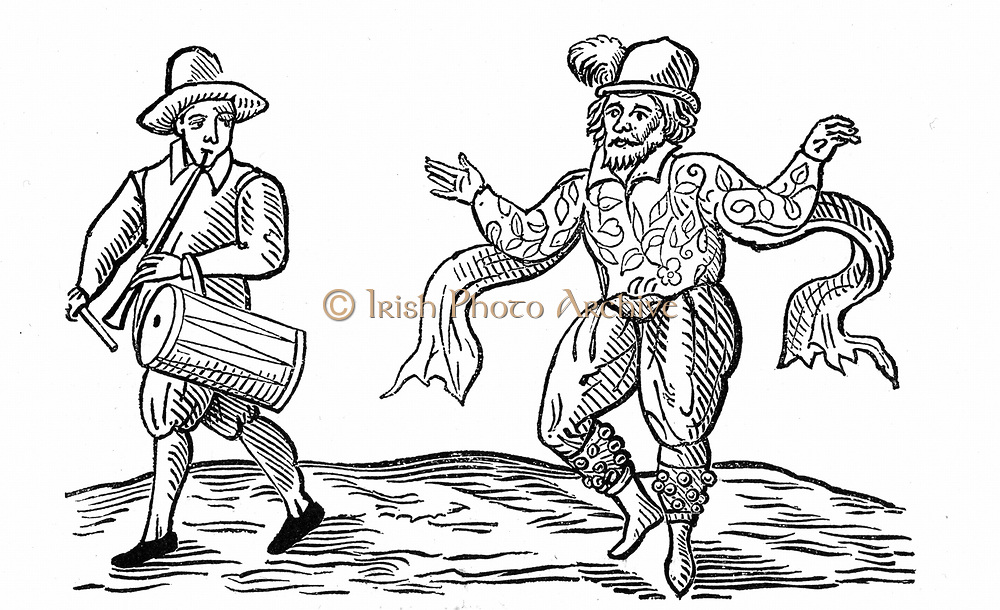 William Kemp or Kempe (d1603) Elizabethan comedian who danced from Norwich to London in 1599.  Here Kemp, with bells on his legs, is dancing the Morris, and is accompanied by man with pipe and drum. Woodcut 1600