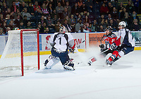 KELOWNA, CANADA - NOVEMBER 28:  Dylen McKinlay #19 of the Kelowna Rockets takes a shot on net against the Tri City Americans at the Kelowna Rockets on November 28, 2012 at Prospera Place in Kelowna, British Columbia, Canada (Photo by Marissa Baecker/Shoot the Breeze) *** Local Caption ***