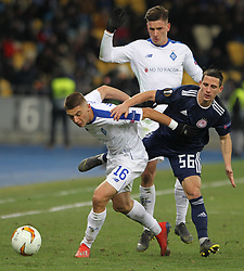 February 21, 2019 - Kiev, Ukraine - Dynamo Kyiv's Denys Garmash (L) fights for the ball with Olympiacos Daniel Podence (R) during the UEFA Europa League round of 32 second leg football match between Olympiacos FC and FC Dynamo Kyiv at the Olimpiyskiy Stadium in Kiev on February 21, 2019. (Credit Image: © Str/NurPhoto via ZUMA Press)
