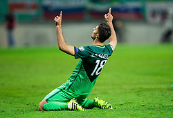 Rok Kronaveter of Slovenia celebrates after scoring first goal for Slovenia during football match between National teams of Slovenia and Slovakia in Round #2 of FIFA World Cup Russia 2018 qualifications in Group F, on October 8, 2016 in SRC Stozice, Ljubljana, Slovenia. Photo by Vid Ponikvar / Sportida