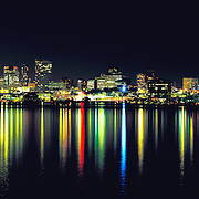 Seattle Reflections skyline at night with colorful lights on Lake Union, Seattle, Washington