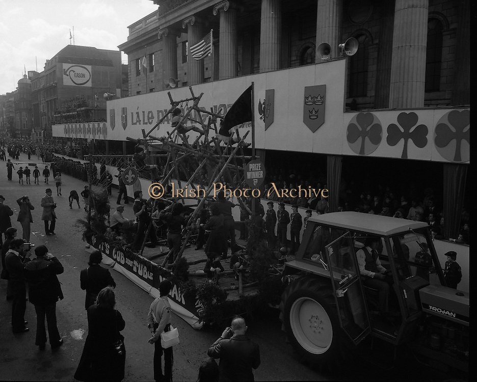 St Patricks day Parade, Dublin .17/03/1976.03/17/1976.17th March 1976. A parade float passes the GPO, O'Connell Street. The Scouts had a 'Big Wheel' on display at the parade.