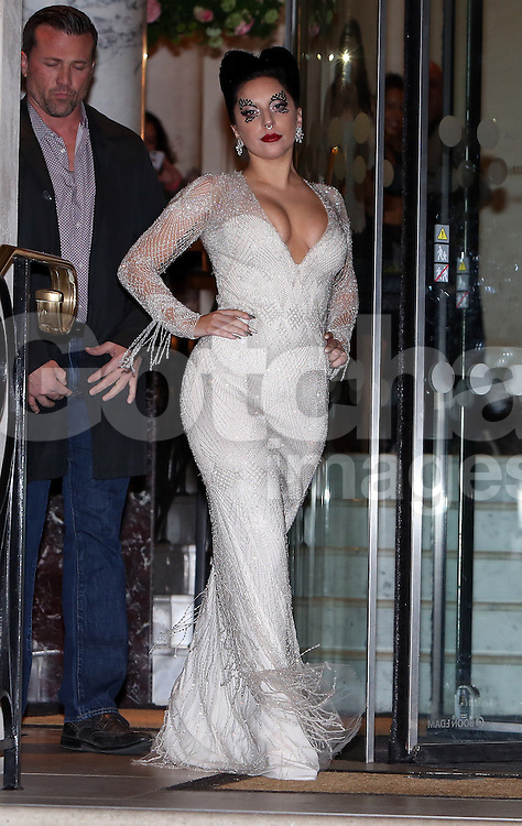 Singer Lady Gaga leaving The Langham Hotel in London, UK. 25/10/2014<br />BYLINE MUST READ : GOTCHAIMAGES.COM<br /><br />Copyright by &copy; Gotcha Images Ltd. All rights reserved.<br />Usage of this image is conditional upon the acceptance <br />of Gotcha Images Ltd, terms and conditions available at<br />www.gotchaimages.com
