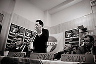 ITALY, Fondi: PDL Senator  Claudio Fazzone delivers a speech during a meeting for the local council elections in Fondi, on January 30, 2009..©Christian Minelli