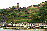 Rhineland, Germany, Village as seen from the Rhine river
