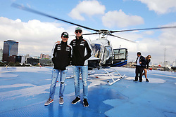 (L to R): Sergio Perez (MEX) Sahara Force India F1 and Nico Hulkenberg (GER) Sahara Force India F1 on a rooftop helipad.<br /> 27.10.2016. Formula 1 World Championship, Rd 19, Mexican Grand Prix, Mexico City, Mexico, Preparation Day.<br />  <br /> / 271016 / action press