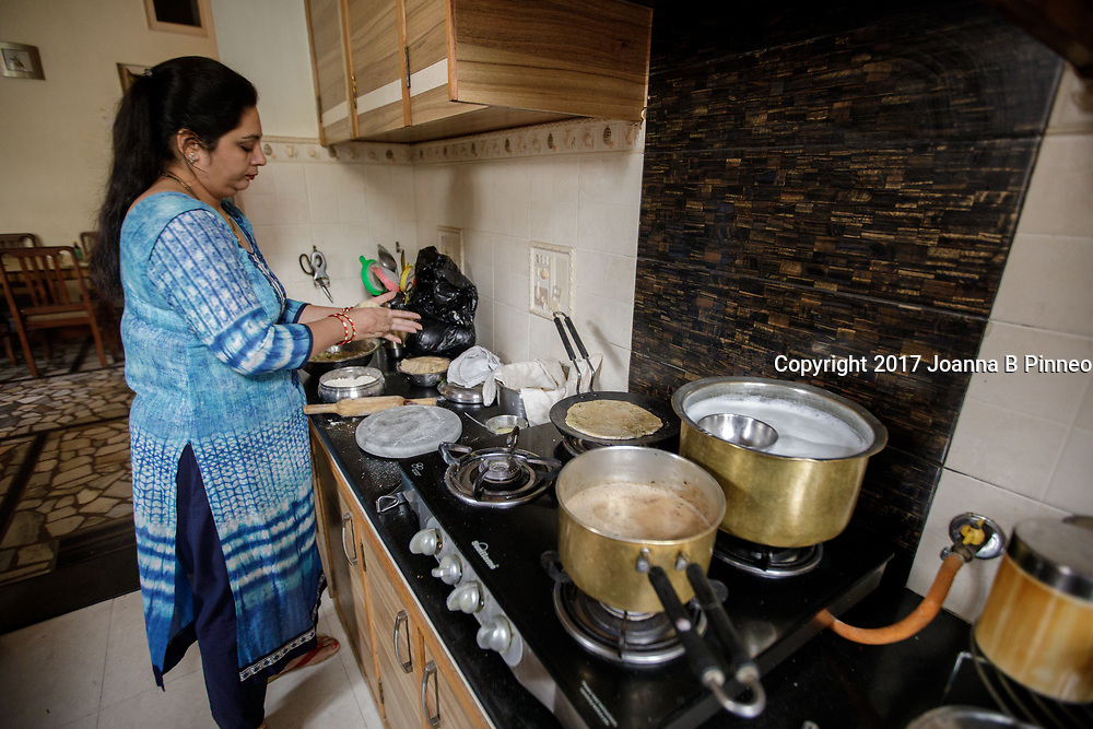 Ritu, a home maker in Punjab, India makes Aloo Parantha on her gas stove. Aloo Parantha is often served for breakfast and is made of chapatti bread and spiced mashed potatoes rolled together and cooked on a griddle. The spices include onions, coriander, and red chili powder.