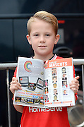 A walsall mascot with his picture in the programme during the Capital One Cup match between Walsall and Chelsea at the Banks's Stadium, Walsall, England on 23 September 2015. Photo by Alan Franklin.