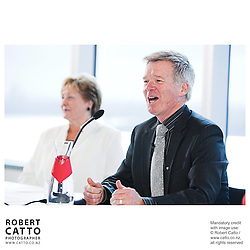 Diana Fenwick;Peter Walls at the Press conference announcing Pietari Inkinen as the NZSO's Music Director at Minter Ellison, The Lumley Centre, Auckland