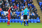 RED CARD Ref Chris Sarginson shows a third red card Jack Baldwin off during the EFL Sky Bet League 1 match between Peterborough United and Rochdale at London Road, Peterborough, England on 25 February 2017. Photo by Daniel Youngs.