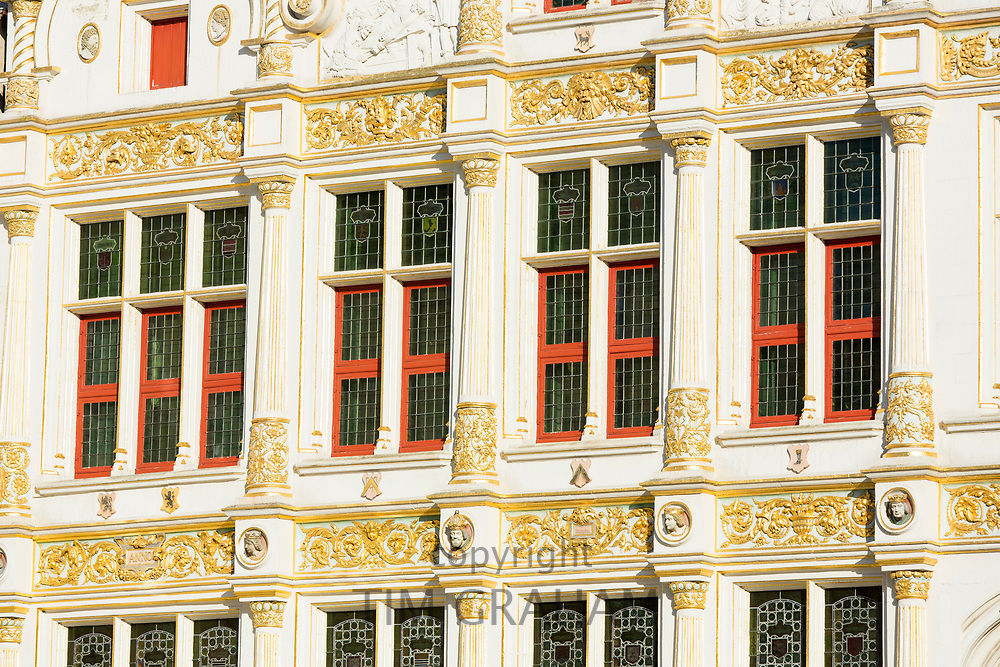 Traditional architecture windows in Bruges - Brugge - Belgium