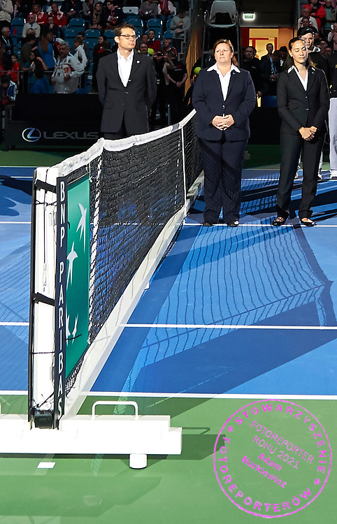(L-R) Swiss Anreas Egli and British chair umpire Alison Hughes (former Lang) and Norway chair umpire Julie Kjendlie during First Day of the Fed Cup / World Group 1st round tennis match between Poland and Russia at Tauron Krakow Arena on February 7, 2015 in Cracow, Poland.<br /> <br /> Poland, Cracow, February 7, 2015<br /> <br /> Picture also available in RAW (NEF) or TIFF format on special request.<br /> <br /> For editorial use only. Any commercial or promotional use requires permission.<br /> <br /> Adam Nurkiewicz declares that he has no rights to the image of people at the photographs of his authorship.<br /> <br /> Mandatory credit:<br /> Photo by &copy; Adam Nurkiewicz / Mediasport