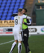 Dundee&rsquo;s Kane Hemmings congratulates Rory Loy after his goal - Inverness Caledonian Thistle v Dundee at Caledonian Stadium, Inverness<br /> <br />  - &copy; David Young - www.davidyoungphoto.co.uk - email: davidyoungphoto@gmail.com