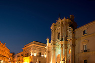 The Baroque facade of the Duomo (Cathedral of Santa Maria delle Colonne) Ortigia, Syracuse, Sicily, Italy